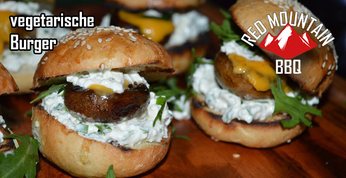Redmountain BBQ Vegetarischer Burger mit Ruccola Frischkäse Topping Header